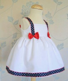 Inspiration for a patriotic doll dress. Little Dresses, Little Girl Dresses, Baby Dress Design, Baby Dress Patterns, Kids Frocks, Baby Sewing, Fashion Kids, Kind Mode, Kids Wear