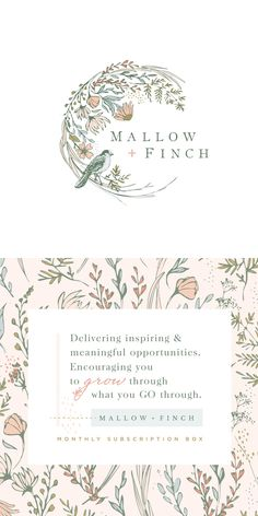 A delicate and feminine floral logo design by Calico Hill Creative. Fond Design, Web Design, Floral Design, Graphic Design, Design Trends, Vector Logos, Craft Logo, Flower Logo, Wedding Logos