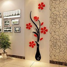 Flower Decal Vinyl Decor Art Home Room Removable Mural Wall Stickers DIY new. for sale online Wall Stickers Tv, Flower Wall Stickers, Wall Stickers Home Decor, Wallpaper Stickers, Tree Wall Decals, Kids Stickers, Stickers Online, Vinyl Decor, Retro Home Decor