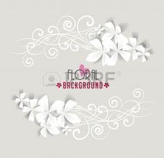 cornice decorata con fiori bianchi Archivio Fotografico