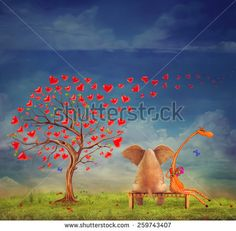 Tree  of hearts, valentines day background,illustration.The love between an elephant and giraffe in the garden