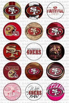 San Francisco 49ers Football 1 inch circle 4X6 digital collage sheet Nfl 49ers, 49ers Fans, Nfl Fans, Sf Niners, Forty Niners, Niners Girl, 49ers Nation, Bottle Cap Images, Bottle Caps