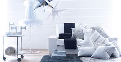 Living room in silver and white with KIVIK sofa and IKEA PS 2012 floor lamp