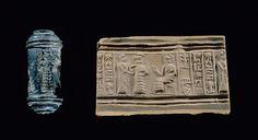 Sceau-cylindre d'un boulanger du roi Scène de présentation à une déesse Époque néo-sumérienne   Site officiel du musée du Louvre