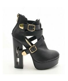 BRIA - Black buckle cut out boots