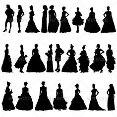 Women Silhouettes in Various Dresses.   #GraphicRiver         Editable EPS, Render in JPG format     Created: 12July13 GraphicsFilesIncluded: JPGImage #VectorEPS Layered: No MinimumAdobeCSVersion: CS Tags: adult #beautiful #beauty #body #bride #business #city #clothing #couture #dress #eveningdress #fashion #female #fun #girl #glamour #hair #healthy #love #model #people #posing #sexy #silhouette #standing #walking #wedding #weddingdress #women #young