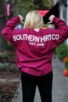 Comfy fall attire! Southern Shirt Co. Spirit Jersey, leggings and Bean Boots. Photo by Tea Laroux.