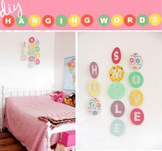 For H's room. ~Ruffles And Stuff~: Hanging Words Tutorial