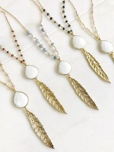 Long Gold Leaf Necklace with White Agate Stone Long Silver Necklace, Leaf Necklace, Beaded Necklace, Feather Necklaces, Long Necklaces, Gold Feathers, White Agate, Gems Jewelry, Bridal Jewelry