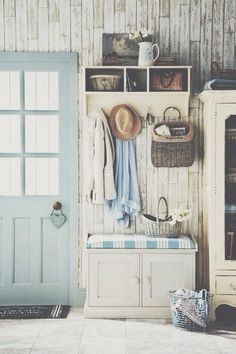 This faux wood-panelled wallpaper will add interest and texture without swamping a small space. #coastal #nautical