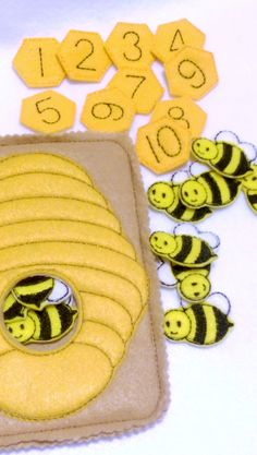 Bee hive counting quiet book page which can be added to other pages to create the perfect quiet book or buy just this page for hours of fun. Set comes with 10 honey combs with numbers 1-10 and 10 hone