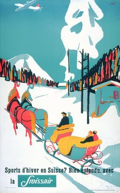 SWITZERLAND - SWISSAIR travel poster, 1950s. Winter sports  #Vintage #Travel