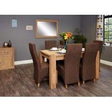 Aston Oak Furniture 6 Seater Dining Table & Hazelnut Chair Set