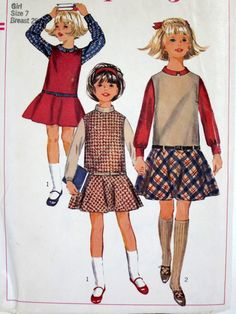 Girls Jumper and Blouse 1966 Simplicity Printed Pattern - My Granny made this for me for the first day of Kindergarten. Even 40 years ago, I had great style. LOL!