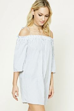 Forever 21 Contemporary - A woven shift dress featuring allover stripes, an open-shoulder design with self-tie cami straps, 3/4 sleeves, and an off-the-shoulder neckline.