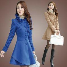2013 otoño y el invierno de la versión del envío del nuevo de Corea de un borde de hongo párrafo largo delgado delgado de lana abrigo de invierno ropa de abrigo $45.00