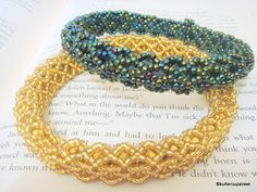The Breakfast Theory: Bead Bangle. Embellish netting - full tute with many pictures. #Seed #Bead #Tutorials