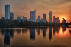 Sunrise over the Austin, Texas, skyline.