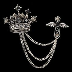 LKEEP Stylish Crown Rhinestone Sewing Machine Brooch Lapel Pins Suit Scarf Decoration Gift for Women