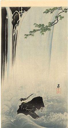 Koson Ohara Japanese Wigtail by Waterfall c.1910; woodblock print
