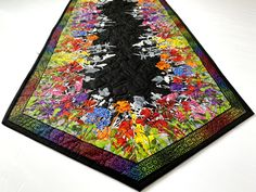 """Quilted Table Runner, 58"""" X 20"""", Spring Decor, Pink Yellow Black, Table Mat, Quilt For Sale, Wildflowers Butterflies Dragonflies, Rainbow Quilting Thread, Quilts For Sale, Black Table, Tablerunners, Bff Gifts, Quilted Table Runners, Mug Rugs, Table Toppers, Dragonflies"""