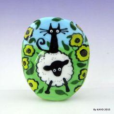 """EWE AND ME"" byKAYO a Handmade SHEEP & CAT Lampwork Art Glass Focal Bead SRA"