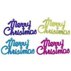"""Deck the halls, it's time for a holly jolly merry and bright Christmas! Dress your tree, mantel, door, and more with Bright Glitter Merry Christmas Ornaments. These super shimmery turquoise, lime green, hot pink, and purple ornaments are the perfect way to spread Christmas cheer!        Dimensions:      Length: 3""""    Width: 6""""          Full Text: Merry Christmas        Each box contains 12 ornaments (3 of each color)."""