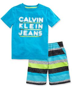 Calvin Klein Kids Set, Little Boys 2-Piece Shirt and Short Set