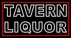 Double Stroke White Tavern Liquor Neon Sign