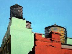 Stephan Magsig, SOHO rooftops, oil on linen Urban Landscape, Abstract Landscape, Landscape Paintings, Abstract Art, Acrylic Paintings, Abstract Portrait, Urban Painting, Artist Painting, Industrial Paintings