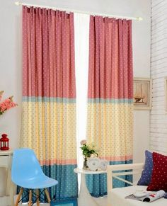 Bright color curtains for kid's room Sheet Curtains, Kids Curtains, Kitchen Curtains, Kids Decor, Diy Home Decor, Patchwork Curtains, Ideas Hogar, Interior Decorating, Interior Design