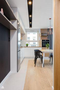 Mieszkanie dla rodziny - Średnia otwarta kuchnia w kształcie litery l w aneksie z oknem, styl skandynawski - zdjęcie od ZAWICKA-ID Projektowanie wnętrz
