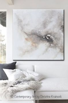 "ORIGINAL Art Abstract Grey White Painting ""Introspective"" Original Abstract Painting. Modern, Large Art, Wall Art, Print, Coastal, Home Decor. textured, palette knife, fine art with neutral earthy shades of grey, taupe, beige, black & white. which come together exhibiting a marbleized organic feel. Home decor, white living room. Mixed media acrylic on a canvas. Beautiful organic, effect. Coastal Contemporary Modern Neutral Grey Taupe Wall Art- Contemporary Artist, Christine Krainock…"