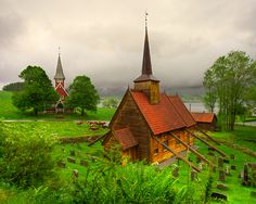 A classic stave church in Norway