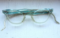 Small Vintage 1950s Pearlized Powder Blue and Translucent Cat Eye Frames // Rockabilly Pin Up. $75.00, via Etsy.