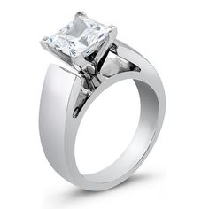 Ladies Platinum wide cathedral engagement ring with 2ct Princess White Sapphire Center on Etsy, $2,065.00