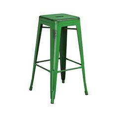 Dark Green Weathered Tolix Bar Stool