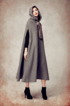 hooded cape long wool coat for women high end fabric fully lined a button on the fastening with neck belt oversized hooded design, flattering dress