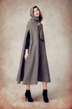 Long Wool Coat With Hood