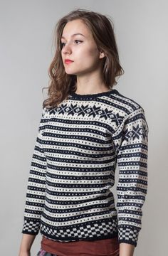 Black and White Norwegian Sweater/ Traditional by vintagepussy