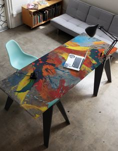 Surface Skins x BLIK were developed to bring some graphic goodness to boring furnishings everywhere. Use Stratus by Wrapped to personalize just about any large surface in your home or office - desks, tabletops, cabinets, bookshelves, etc.