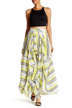 Gathered Stripe Maxi Skirt