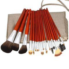 18pcs Professional Cosmetic Makeup Brush Set with Dark Grey Bag Brown