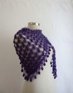 Purple Shawl Scarf bolero stole cowl warm by modelknitting on Etsy, $29.00