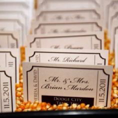 Movie ticket place cards