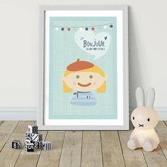 Bonjour! HELLO FROM FRANCE Kids around the world say Hello! Bonjour! Kids around the world - Hello from FRANCE! Nursery Illustrated Poster Kids Baby Room boys girls Kids Art Unique Gift