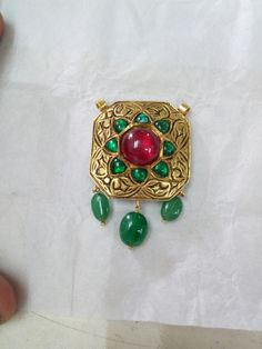 Ruby ,emareld 92.5 silver pendant