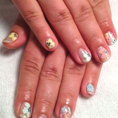 Colorful flower hand paint nails!!
