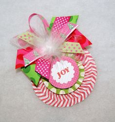 Pink and Green Chevron and Polka Dot Medallion Christmas Ornament by shoplissy, $7.45