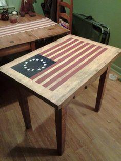 Turned old oak desk into Americana peice